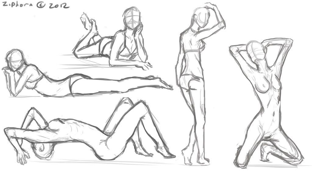 Female Anatomy Sketches by Ziphora | Tutorials/References/Poses ...