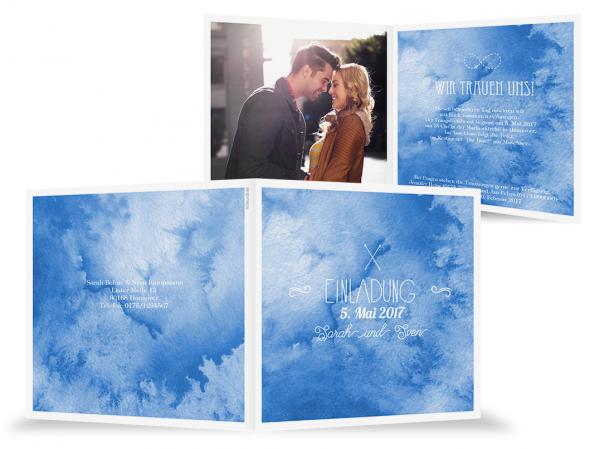 Hochzeitseinladungskarte Aquarell Blau Maritime Hochzeit