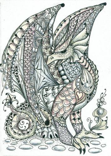 Photo gallery zentangles zia zentangle inspired art tangled dragon quill me paper - Mandala de dragon ...