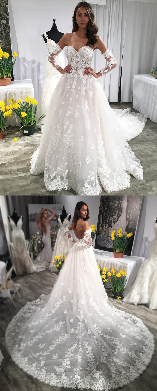 White Long Sleeve Lace Wedding Dresses Unique Court Train Sweatheart Ball Gown Wedding Dress For Bri Wedding Dresses Uk Aline Wedding Dress Ivory Wedding Dress