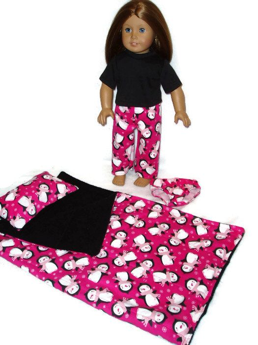 Hot Pink Penguin Print #Sleeping Bag n #Pajamas 18 inch doll #clothes fits Americ,  View more on the LINK: http://www.zeppy.io/product/gb/3/212010847/