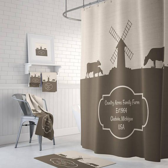 Farmhouse Chic Dairy Farm Shower Curtain Beige Brown Custom