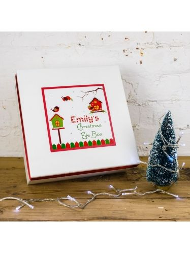 Handmade Christmas Eve box which is available in 2 designs is personalised with your child's name to keep their Christmas eve treats inside! A wonderful tradition to surprise your child with Christmas eve treats for creating a wonderful 'night before Christmas'.