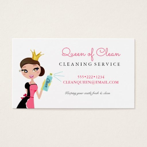 Cleaning maid service brunette character crown business card cleaning maid service brunette character crown business card colourmoves Images