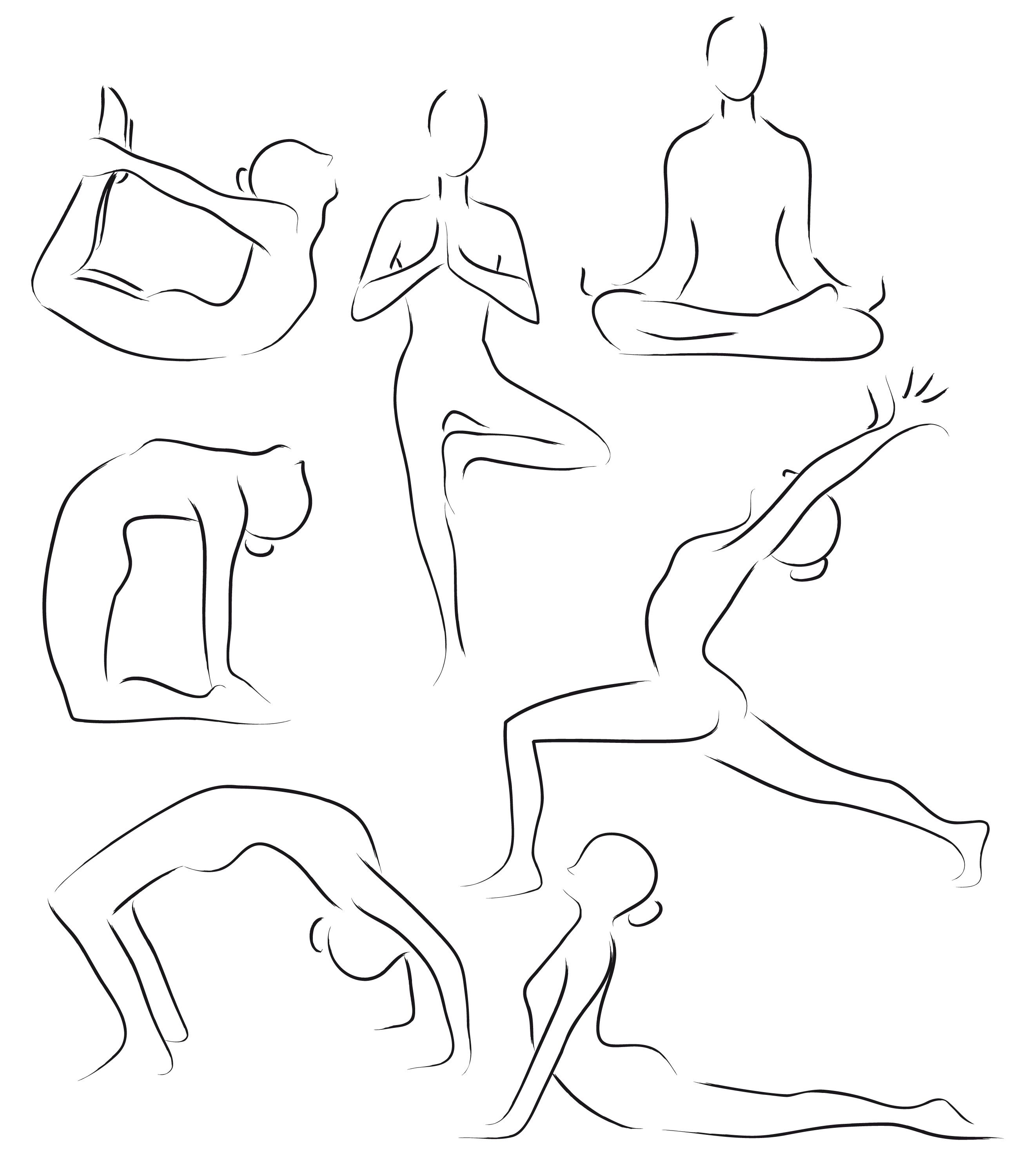 Website Inspiration Hand Drawn Silhouettes Yoga Drawing Yoga Art Yoga Art Painting