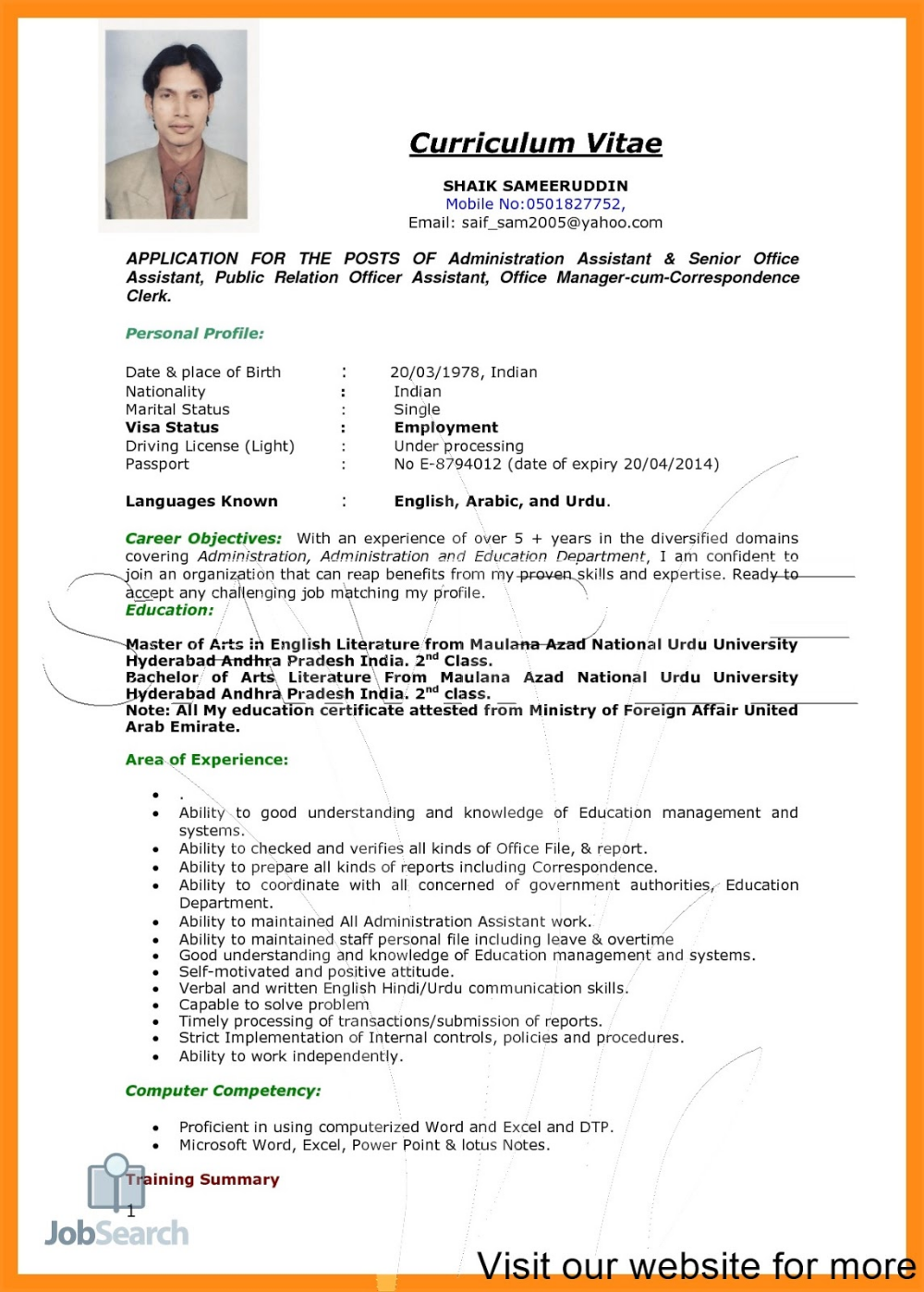 Job Resume Pdf 2020 Job Resume For Freshers In 2020 With Images