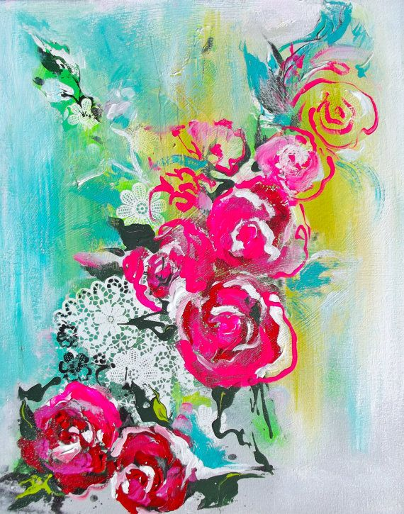 Original abstract floral acrylic painting pink teal for Painting large flowers in acrylic