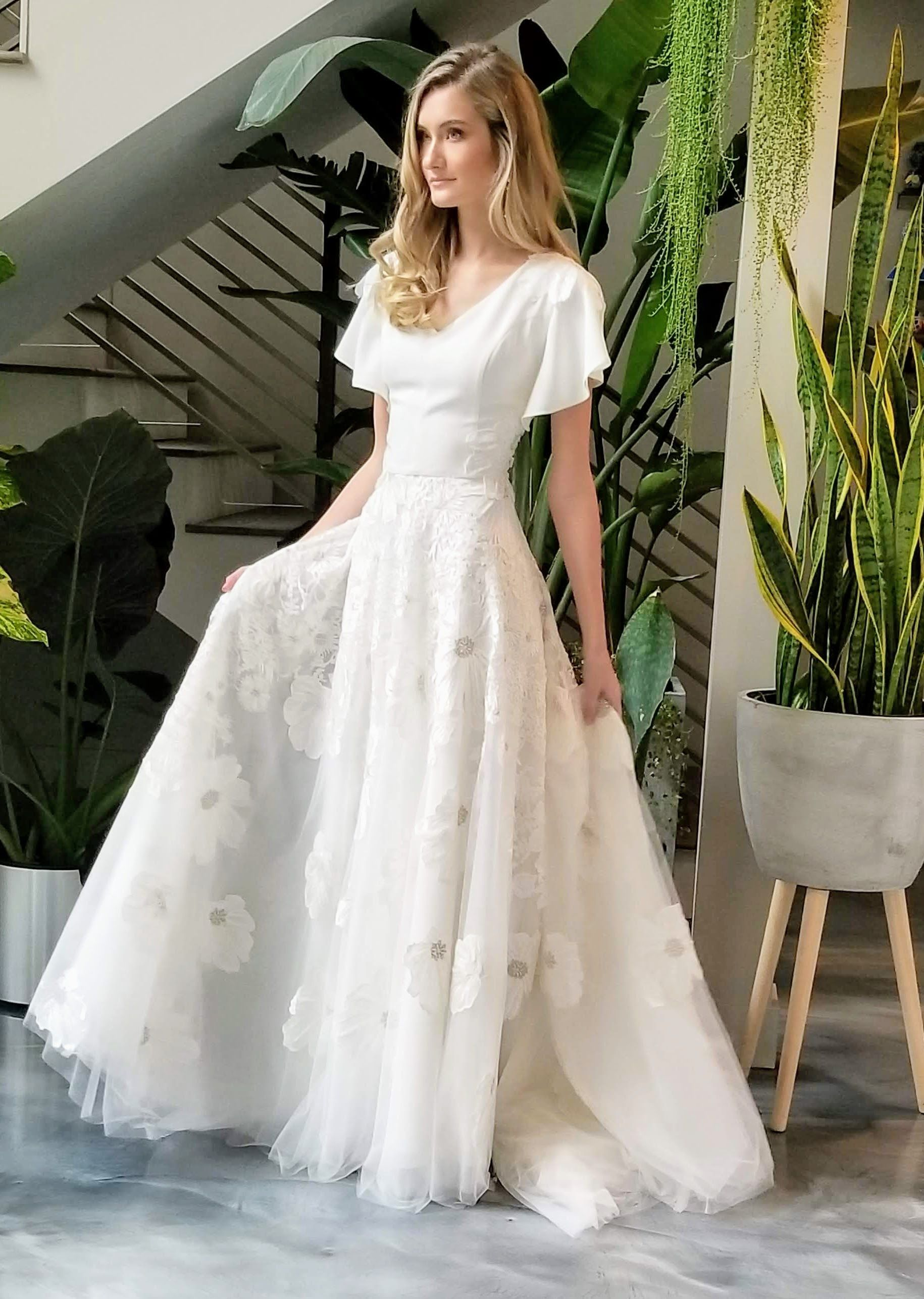 Modest Wedding That S Soft And Flowy In 2020 Modest Wedding Dresses Wedding Dresses Country Chic Wedding Dress
