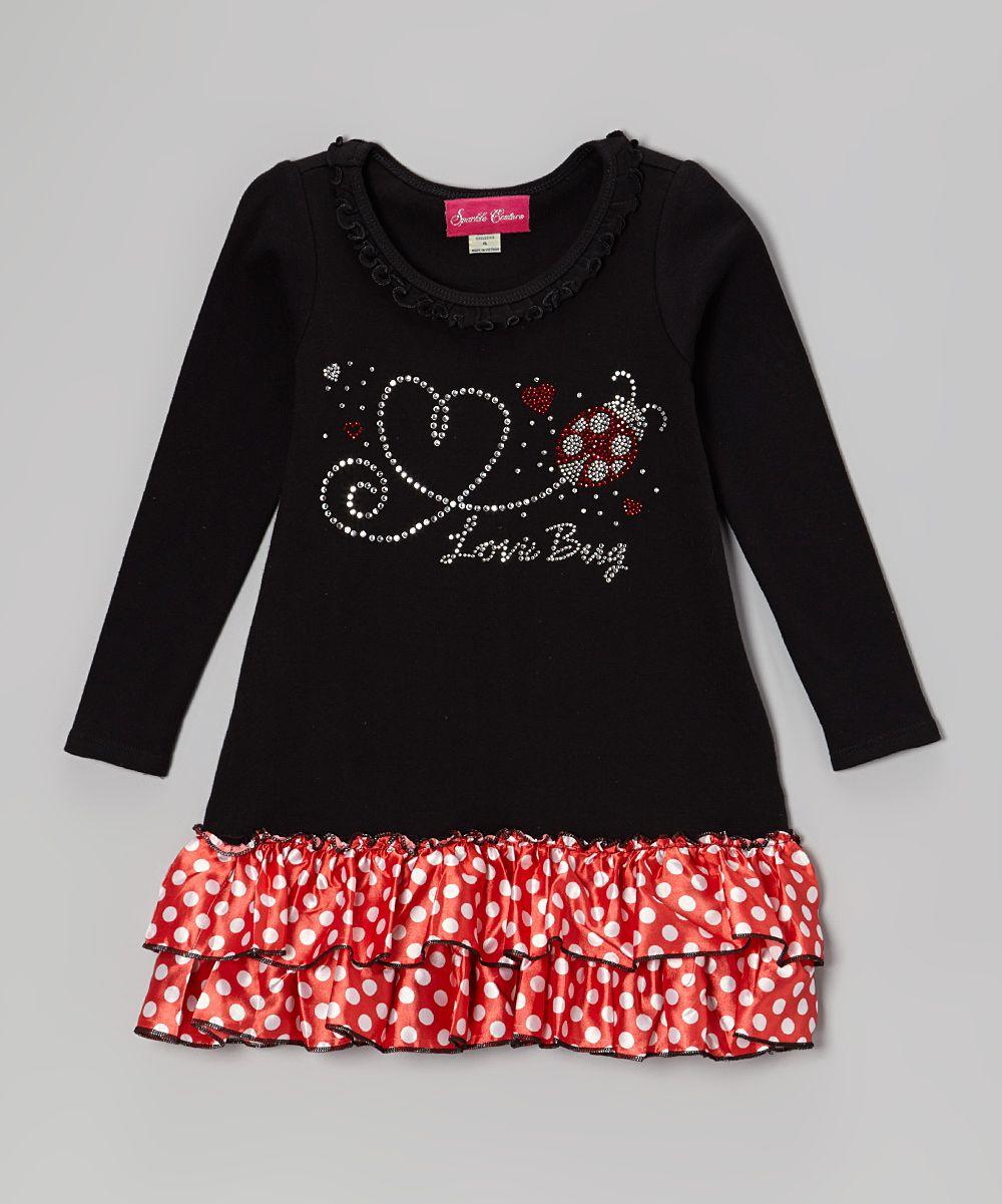 The princess and the prince black u red dot love bug ruffle dress