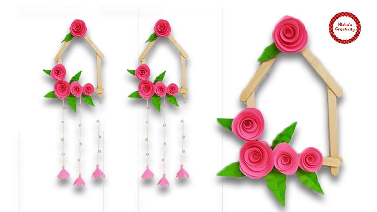 How To Make Beautiful Wall Hanging With Paper Ice Cream Stick