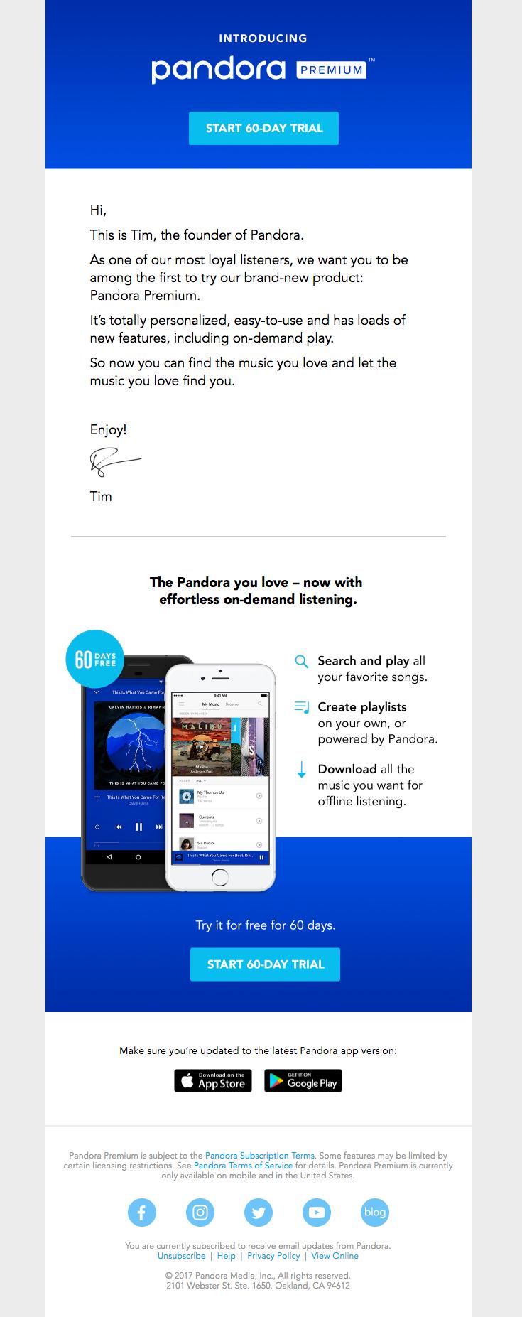 pandora one email