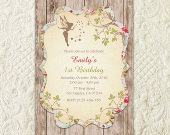 Fairy Birthday Invitation Woodland Birthday by LuckyPlumStudio