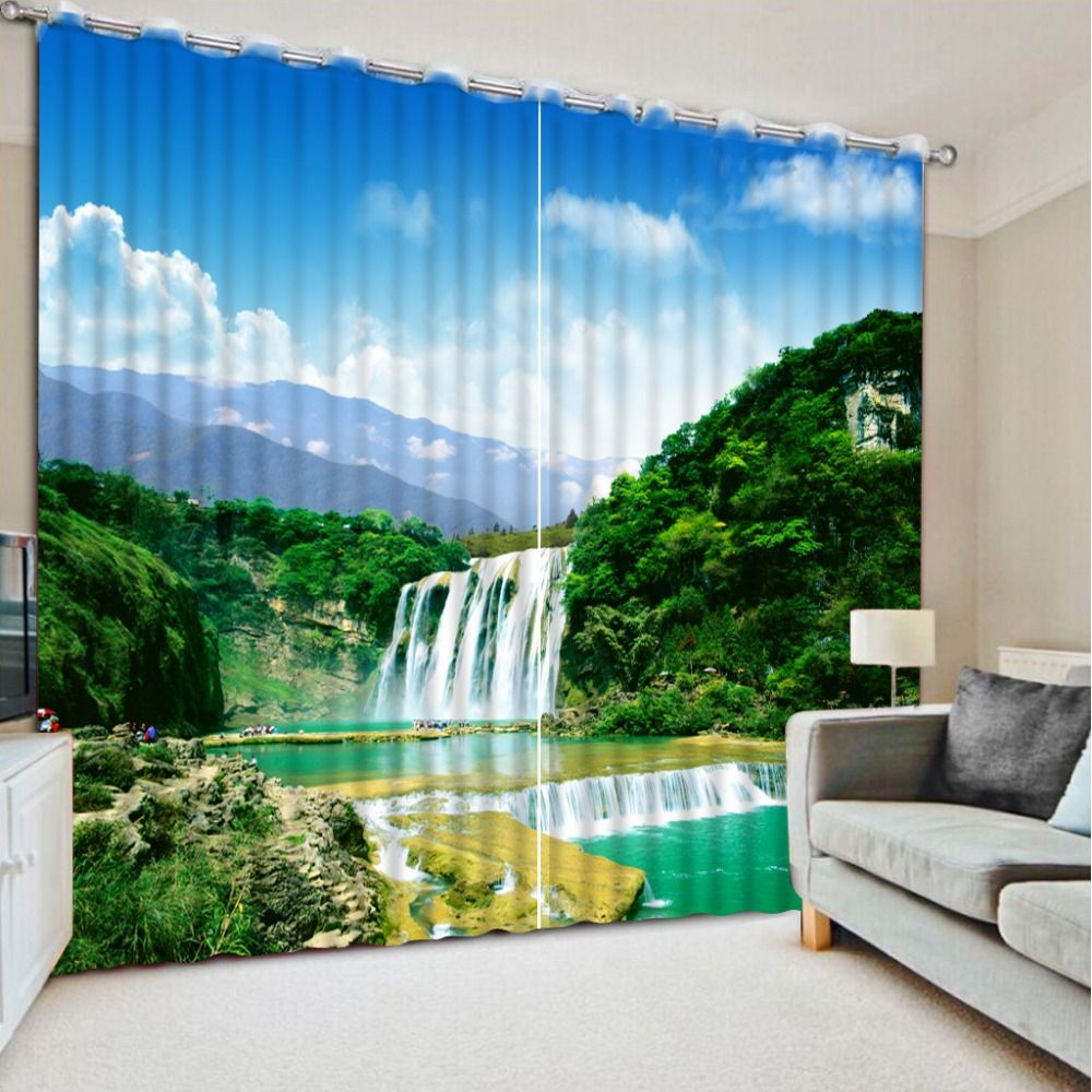 Pastoral Style Custom Top Classic 3D European Style Waterfall Scenery Curtains For Living Room