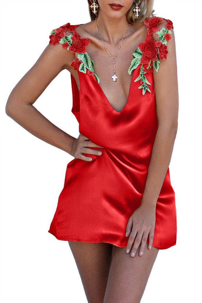 cc564fde76a Satin silk rouge - florence shoulder slip