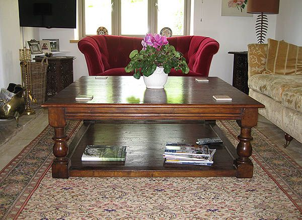 Large potboard coffee table in solid oak in clients sitting room. Photo kindly supplied by client, who scored us 5 out of 5 for Quality, Service and Value, and said 'Beautifully made furniture with excellent sales service.'