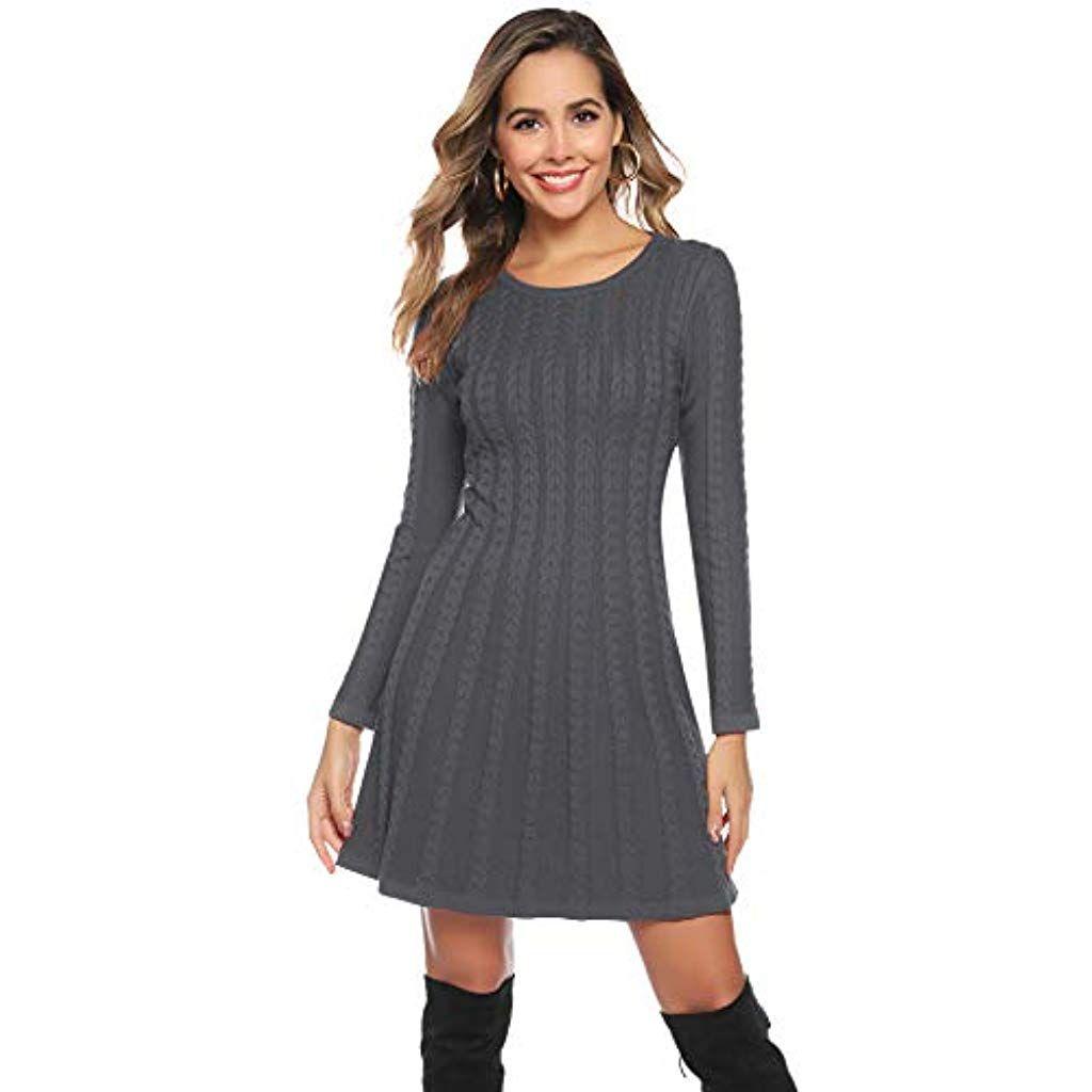 Hawiton Damen Strickkleid Elegante Pulloverkleid mit Zopfmuster A