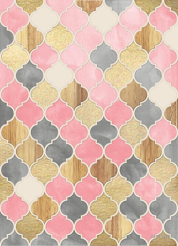 Silver Grey, Soft Pink, Wood & Gold Moroccan Pattern Art Print by micklyn