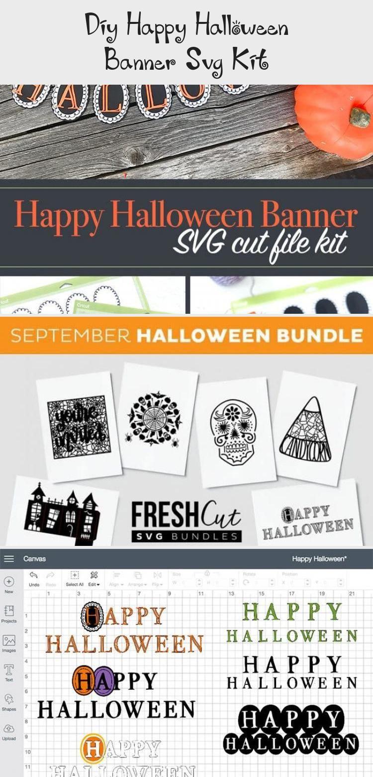 DIY Happy Halloween Banner SVG Kit - 100 Directions #bannerParaYoutube #bannerTwitter #bannerPublicidad #Printablebanner #bannerLetters #happyhalloweenschriftzug