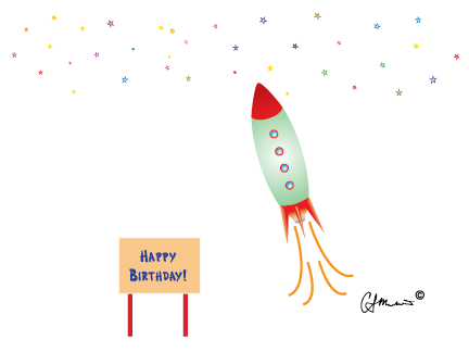 """Happy Birthday Rocket"" Birthday Card"