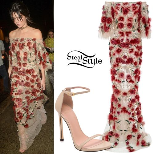 Kendall Jenner was spotted arriving at the Harper's Bazaar Party last night wearing a Marchesa Tulle Off The Shoulder Column Gown ($8,995.00), a Jimmy Choo Velvet Clutch (Not available yet), Lorraine Schwartz Jewelry (Not available online) and Stuart Weitzman Nudist Sandals ($398.00). You can find similar sandals for less at ASOS ($49.00).