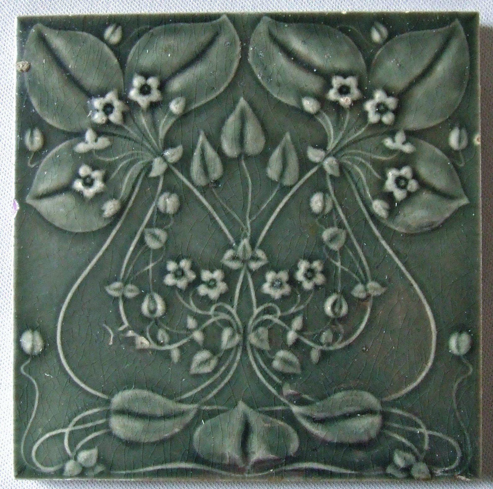 Art Nouveau Flower Tile by Gilliot et Cie Heimixen Belgium