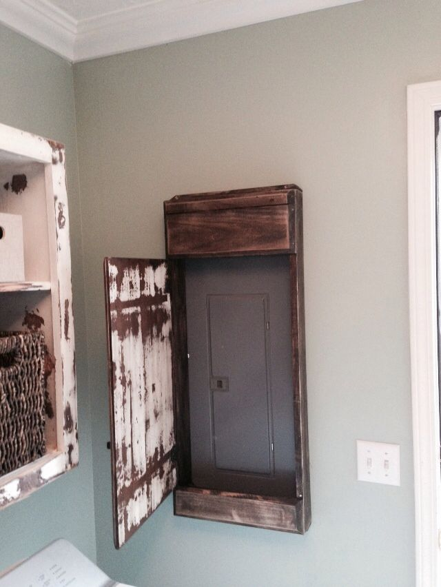 Wood Profits - My hubby made this sweet distressed door cover for the electrical panel in our laundry room. - Discover How You Can Start A Woodworking ... & Basement Laundry Room Decorations Ideas And Tips | Laundry rooms ...