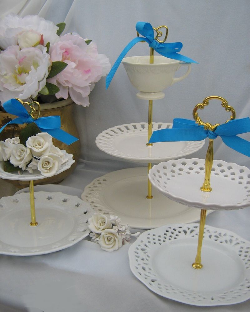 WHITE LATTICE WEDDING 2 TIER CAKE STAND 3 TIER TIDBIT
