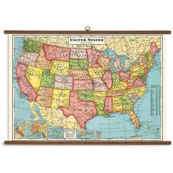 Cavallini us map vintage school chart united states map vintage cavallini us map vintage school chart gumiabroncs Images