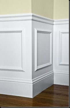 easy wall paneling idea: buy ornate frames from michael's, glue to wall and paint over with white entire lower half. viola! Got this tip from a savvy home improvement person