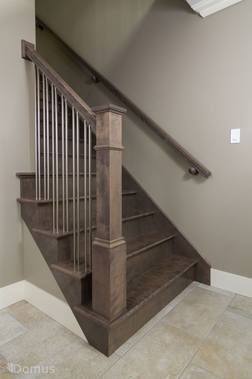 Dark Stained Staircase With Modern Stainless Spindles Painted Staircases Railings
