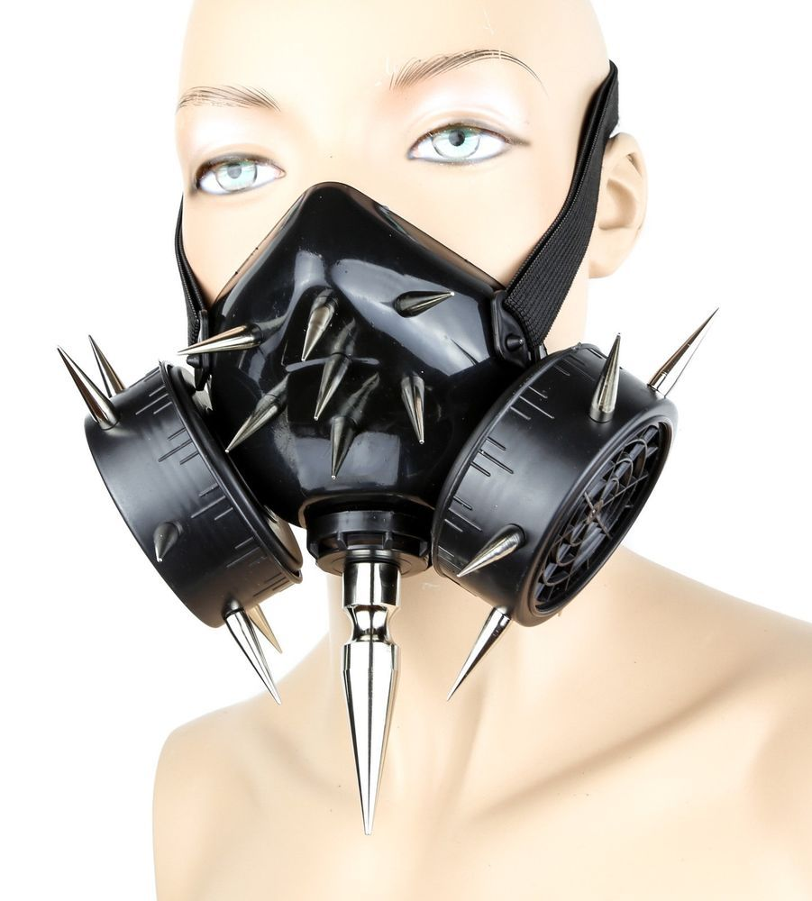 "Gas Mask 3/"" Spike Respirator Halloween Punk Cosplay Cyber Goth Rave Burning man"