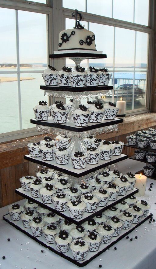 White Wedding Cakes Towers On Black Damask Cupcake Tower