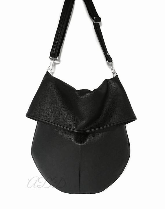 Black Hobo Bag Black Handbag Black Vegan Bag Large Shoulder Bag Slouchy Hobo Purse Slouchy Hobo Bag Hobo Purse Bag Handbag Women Bag Woman Black Vegan Bag Slouchy Hobo Bag Womens