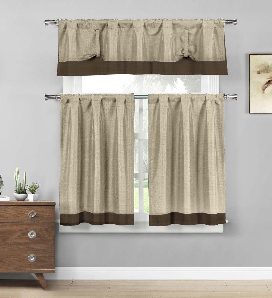 taupe and brown border kitchen window curtain tier & valance set #designerlinens #contemporary