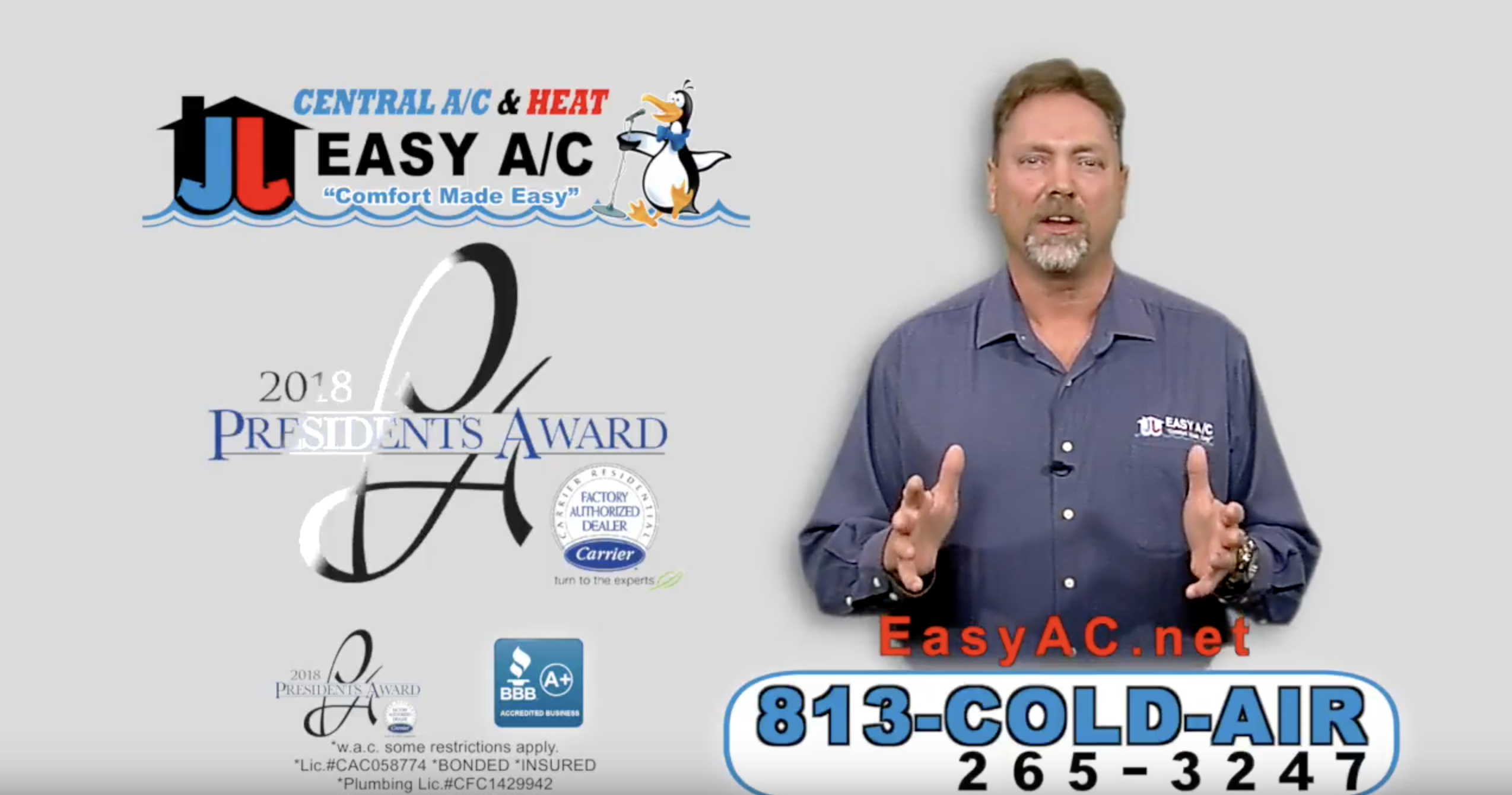 Easy A/C won the Carrier's 2018 President's Award for
