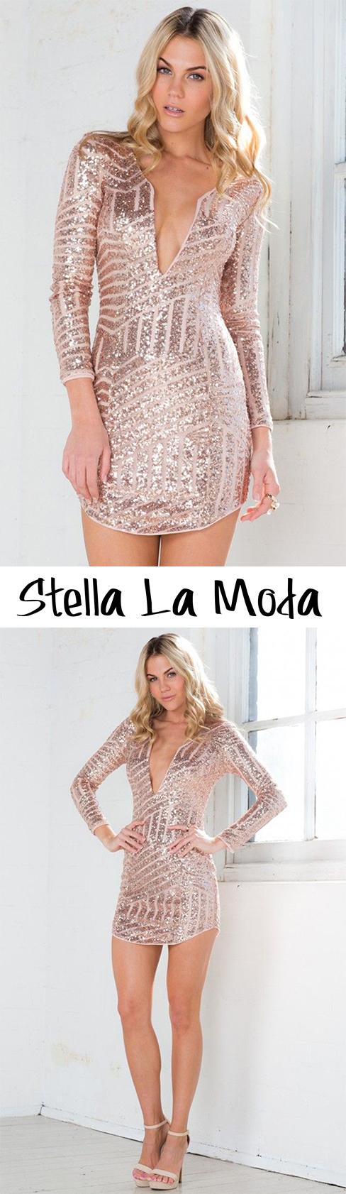 rose gold long sleeve sequin mini dress fashion u style