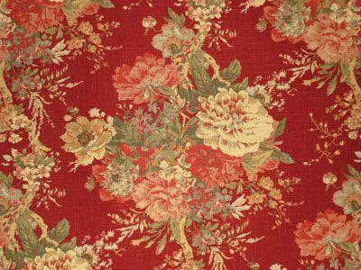 WAVERLY FABRIC BALLAD BOUQUET VINTAGE RED