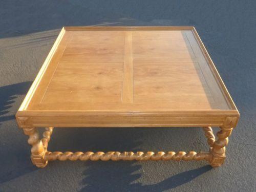 Large Vintage Barley Twist Coffee Table With Inlaid Wood Pattern