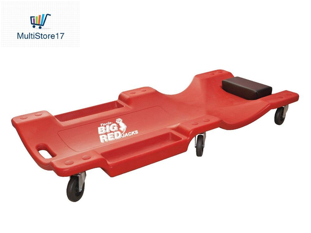 Torin Big Red Rolling Garage Shop Creeper 40 Plastic Mechanic Cart With Padded Torin