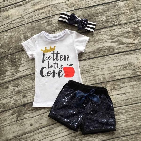 Rotten To The Core Outfit With Sequin Short and Matching Hair Bow Snow White Inspired Clothing Set