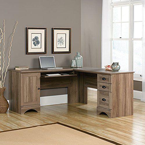 Plain Sauder L Shaped Desk With Hutch View Computer In Salt Oak Design