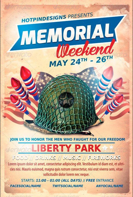 Memorial Day Event Flyer Template - Http://Www.Ffflyer.Com
