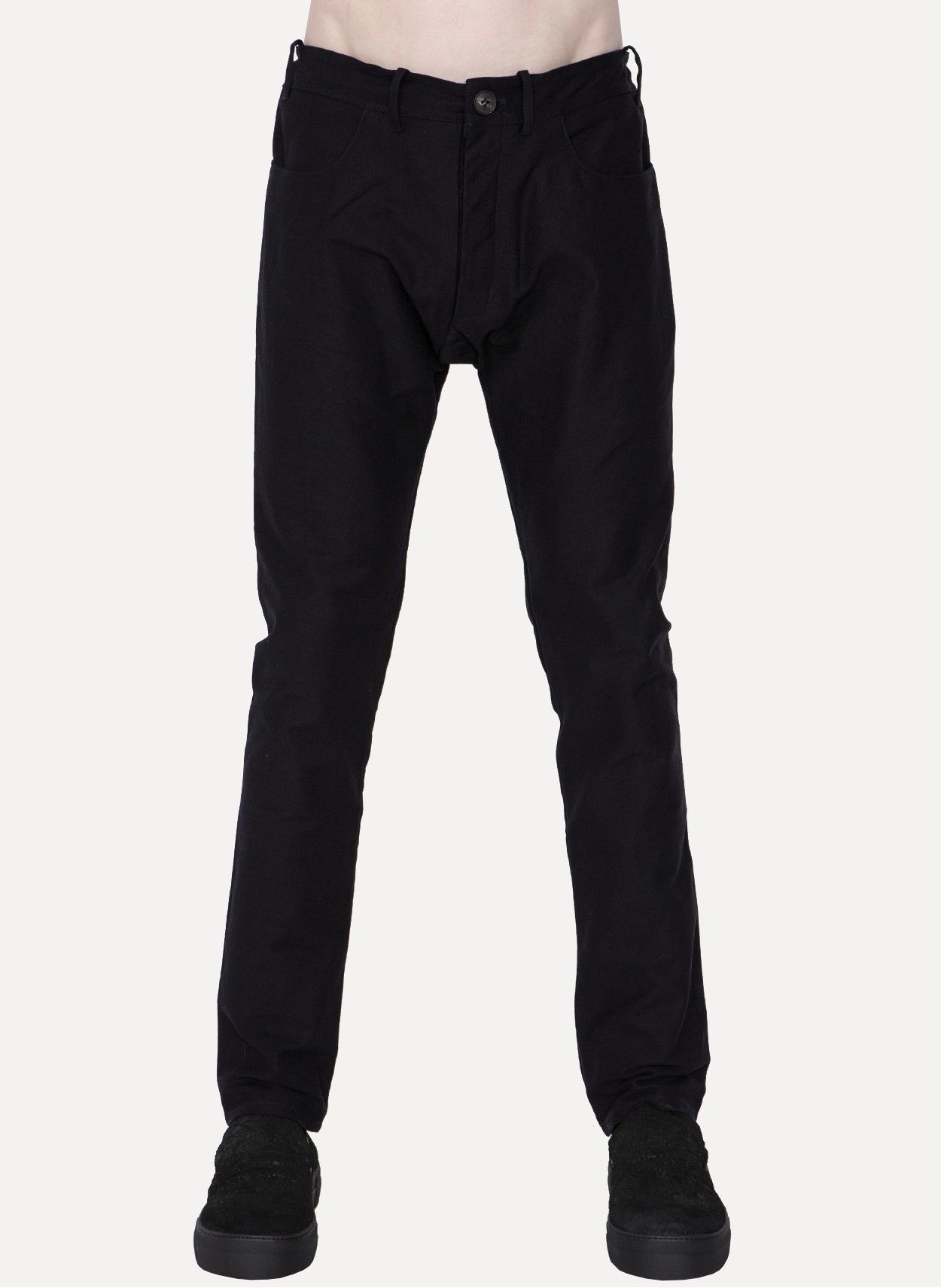 TROUSERS-26 Waxed Denim Slim Fit Trousers https://cruvoir.com/jan-jan-van-essche/5684-trousers-26-waxed-denim-slim-fit-trousers-nightblue
