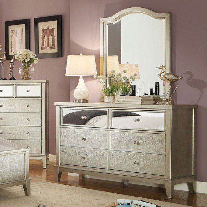 Amiyah 6 Drawer Double Dresser With Mirror Furniture Dresser With Mirror Mirrored Furniture