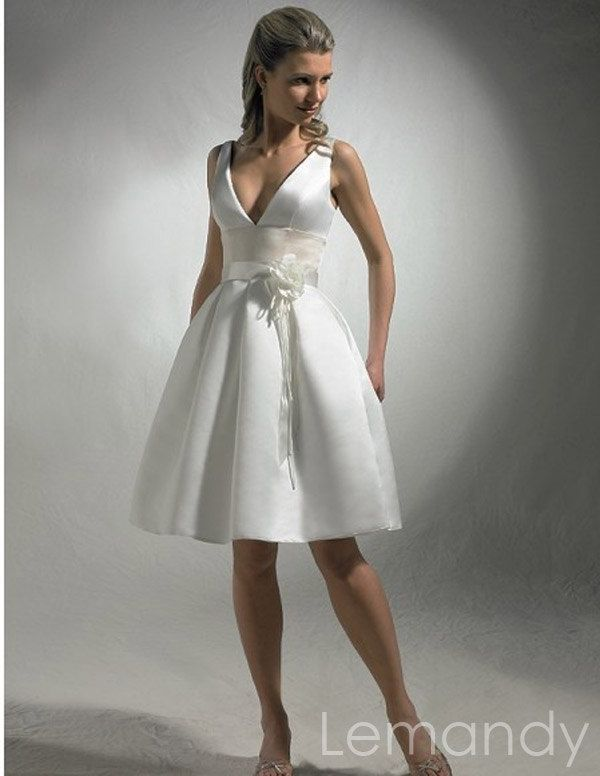 f60b900c3e4 sexy simple V neck short satin wedding dress.  135.00