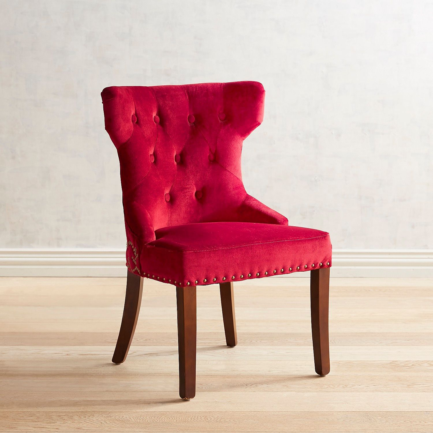 Hourglass velvet red dining chair with espresso wood