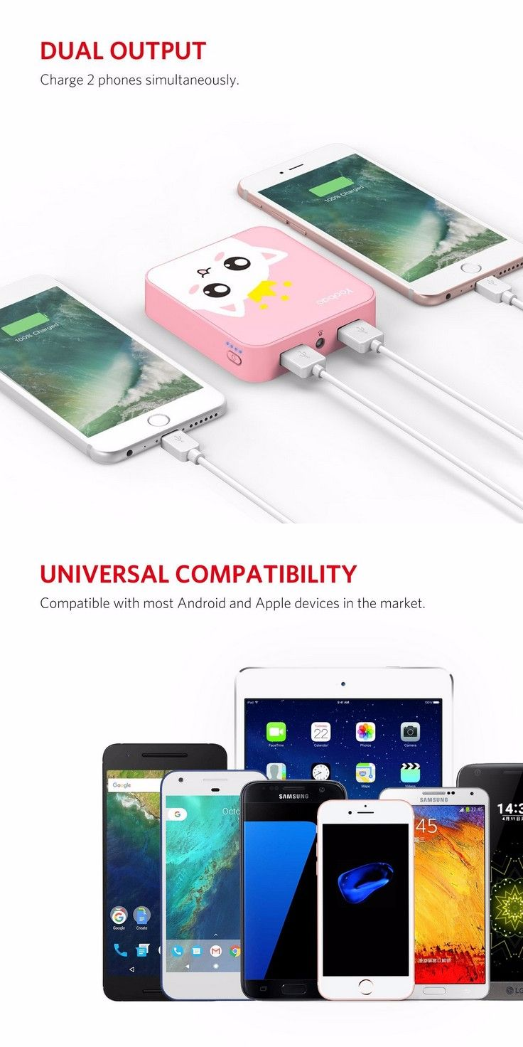 the best attitude c572e ee7b9 cute pink cat Portable Charger, Power Bank for iPhone 7 Plus 7 6s 6 ...