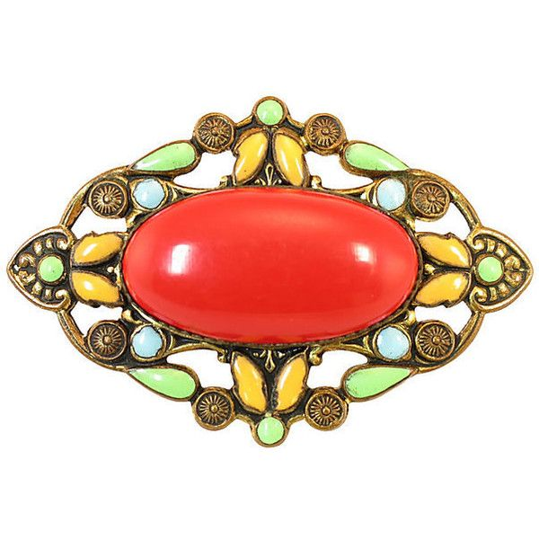 Pre-Owned Victorian Czech Enameled Brooch ($129) via Polyvore featuring jewelry, brooches, boho jewelry, boho chic jewelry, bohemian style jewelry, cabochon jewelry and enamel jewelry