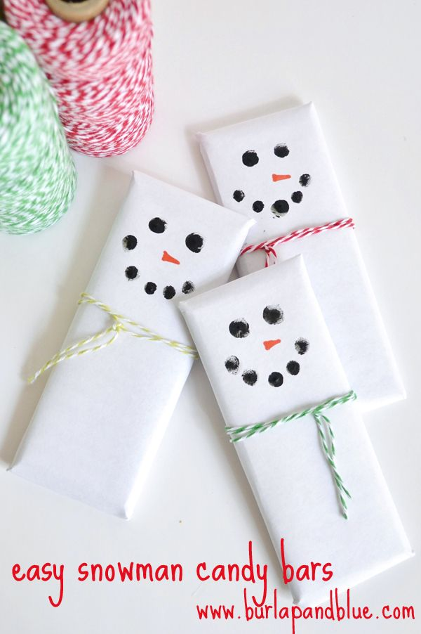 easy & adorable snowman candy bars