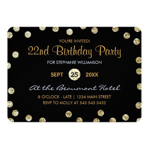 22nd birthday party gold glitter